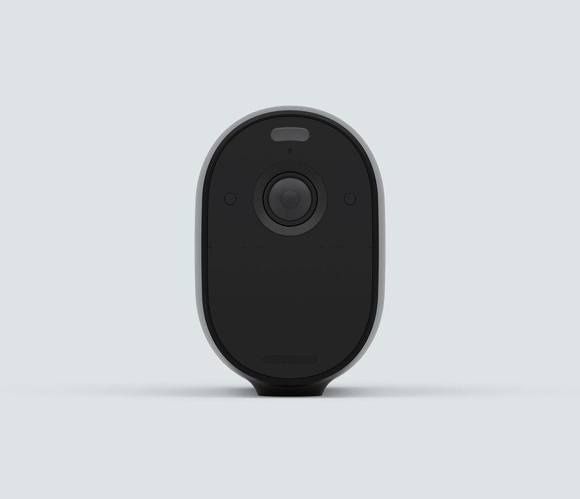 Arlo Essential Spotlight, in black, front facing