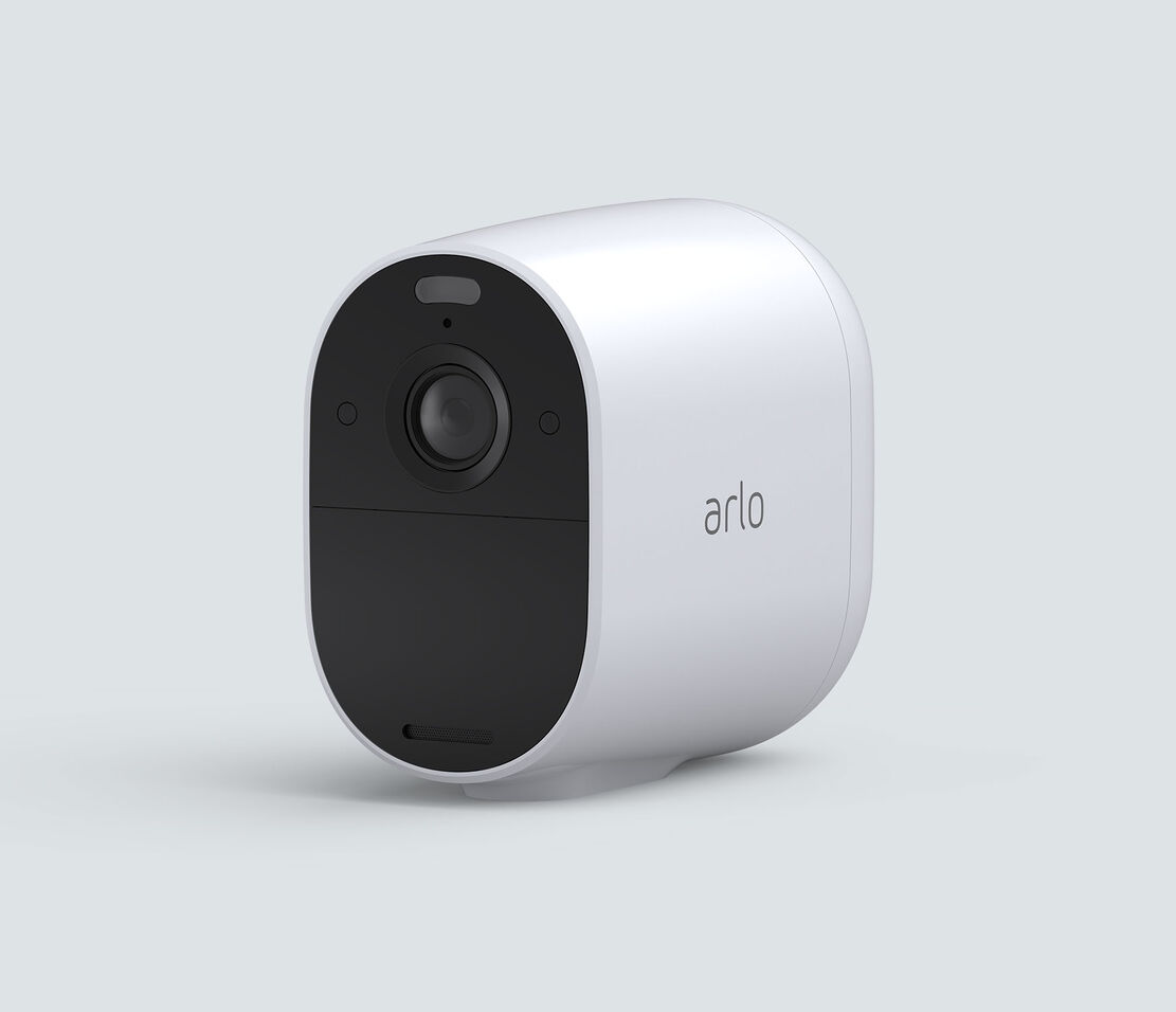 Arlo Essential Spotlight, in white, facing left