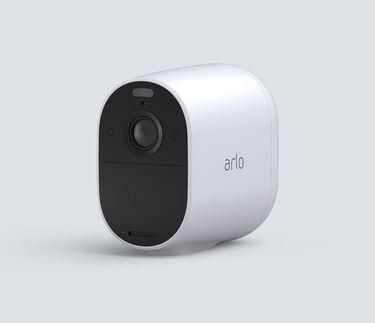 Arlo Essential Spotlight, in white, facing left