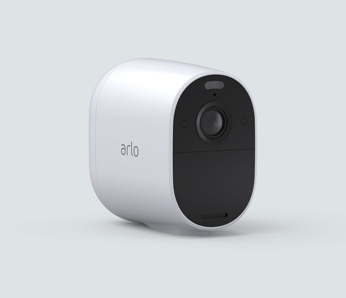 Arlo Essential Spotlight, in white, facing right