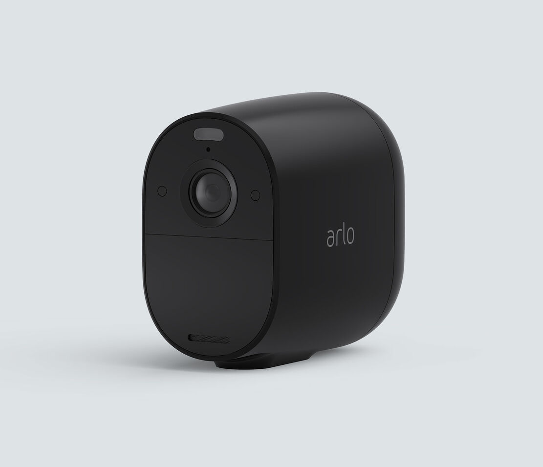 Arlo Essential Spotlight, in black, facing left