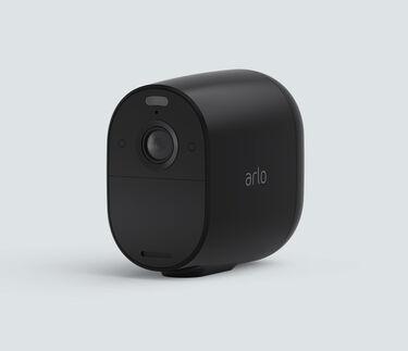 Arlo Essential Spotlight, in black, facing left