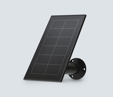 3/4 view of Arlo Solar Panel Charger in black