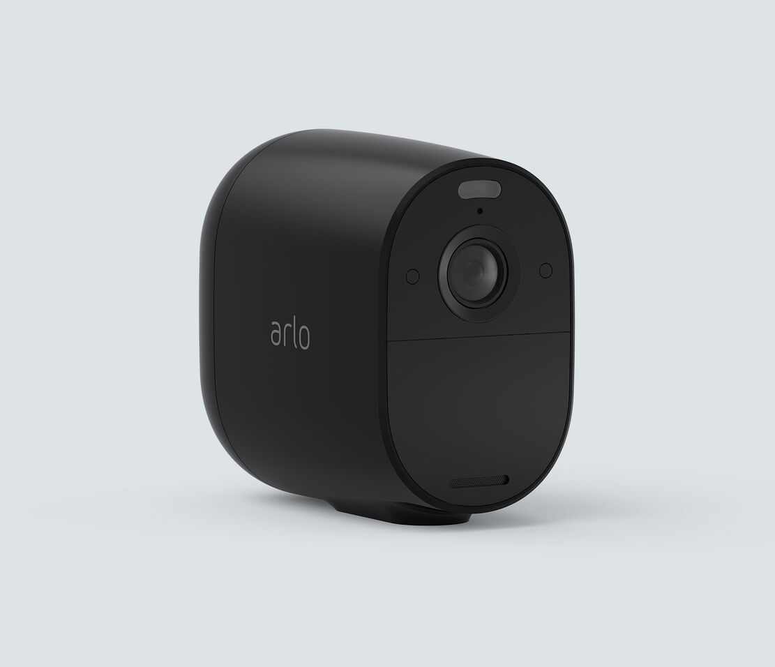 Arlo Essential Spotlight, in black, facing right