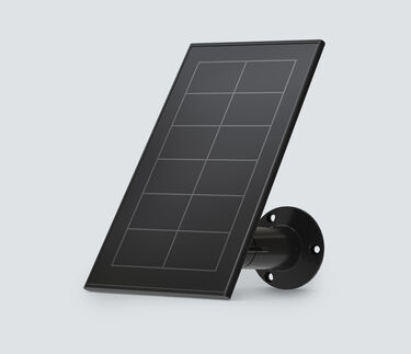 Arlo Essential Solar panel, in black, facing left