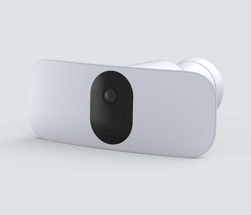 Arlo Pro 3 Floodlight Camera, in white, facing left