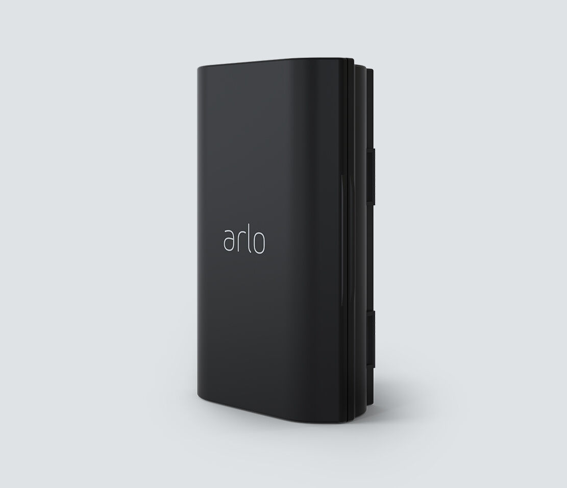 Arlo Rechargeable Battery for Video Doorbell Wire-Free, in black, facing left