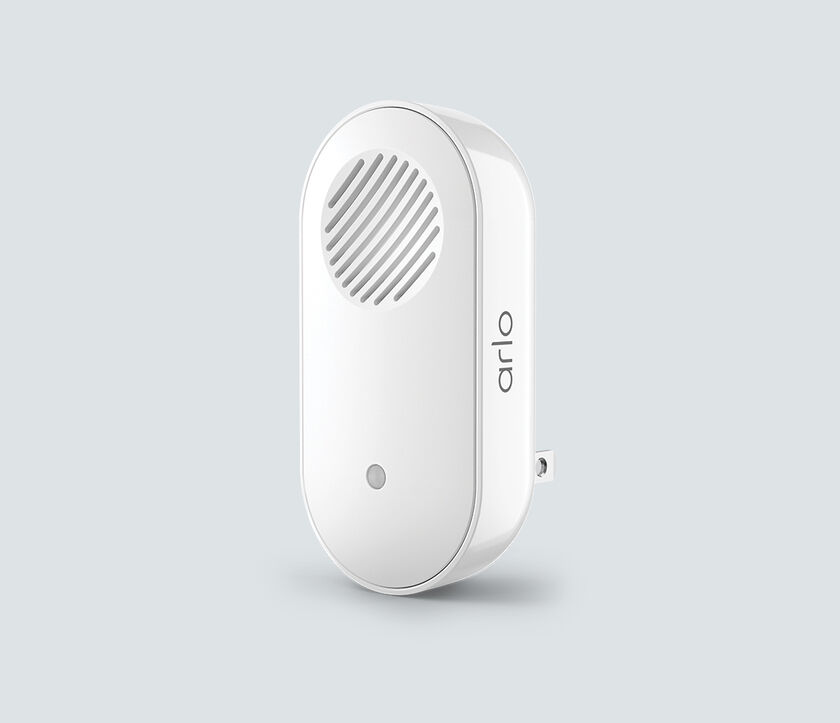 Arlo Chime 2, in white, facing left