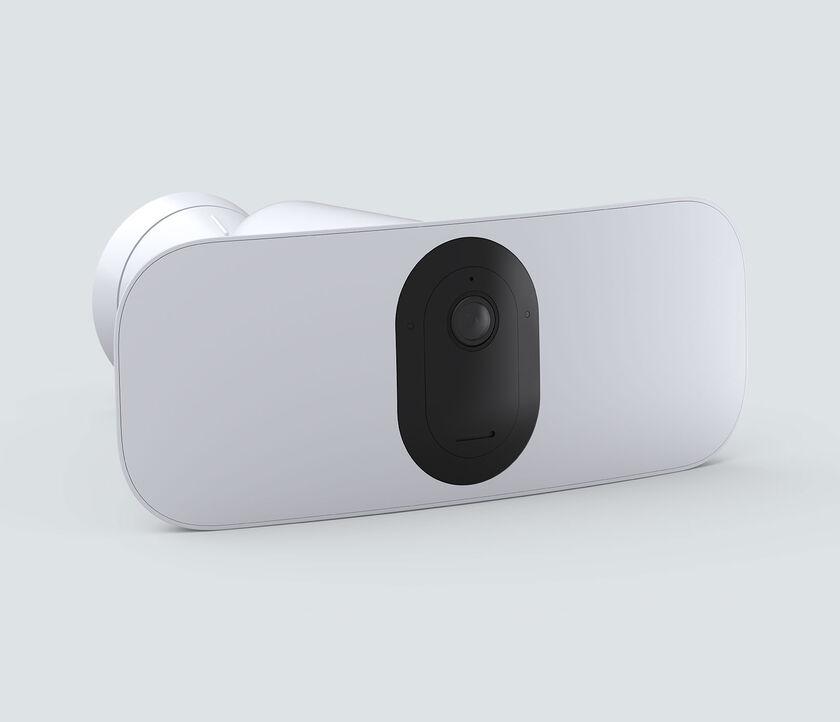 Arlo Pro 3 Floodlight Camera, in white, facing right
