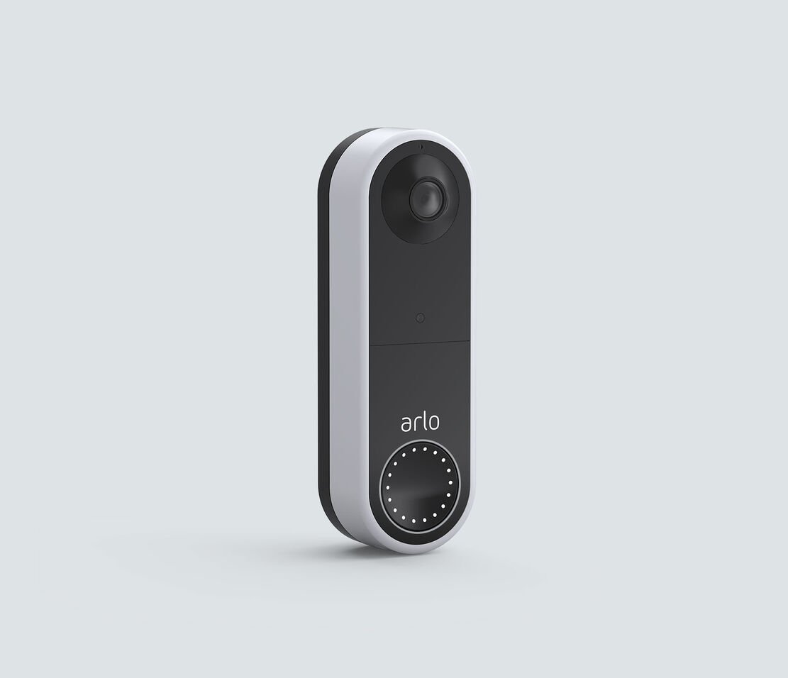 Arlo Video Doorbell Wire-Free, in white, facing right