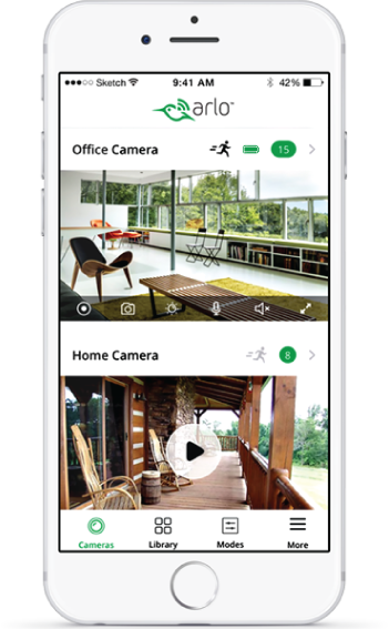 Download the Arlo app to view your camera feeds and videos