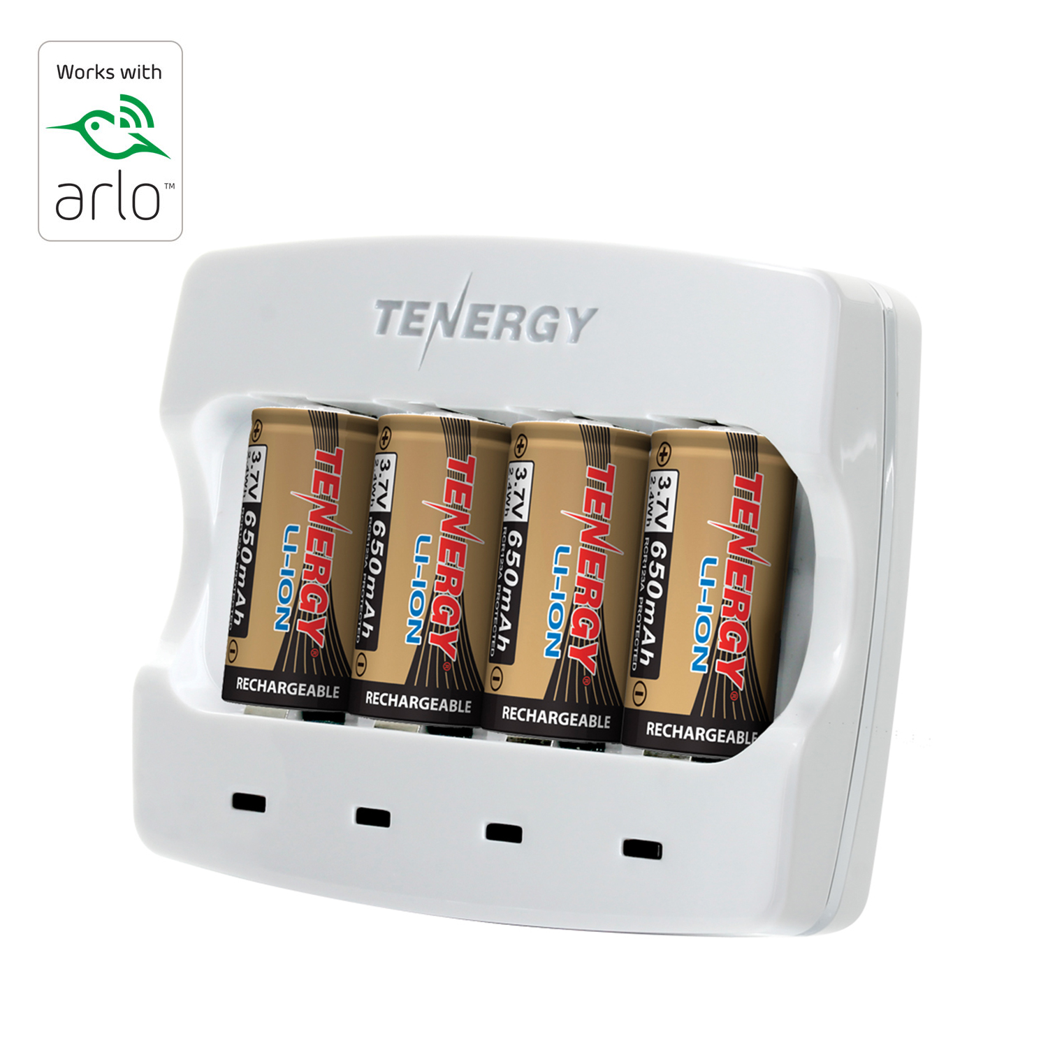 Tenergy CR123 Batteries & Charger (Rechargeable)